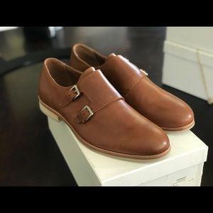 Calvin Klein DBL Monk FABER Leather Shoes 9.5 TAN